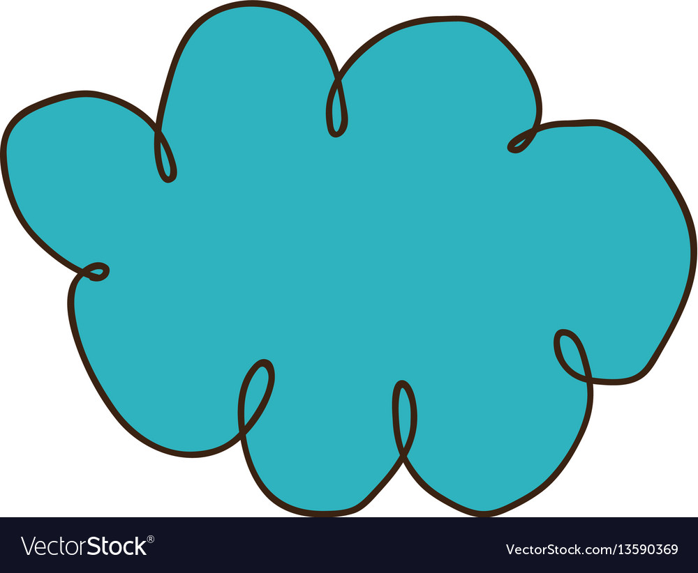 Color silhouette of hand drawn cloud