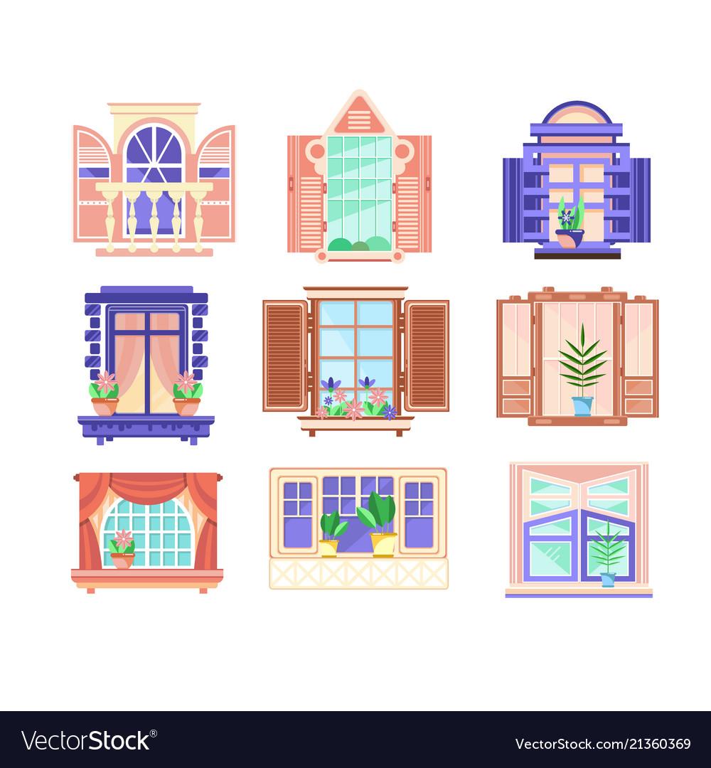 Flat set of colorful window frames flowers