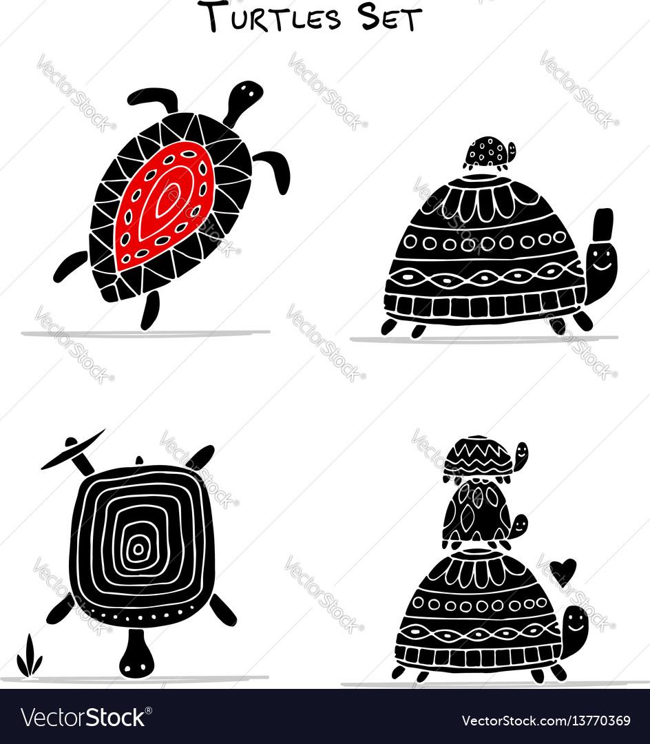 Funny turtles set sketch for your design vector image