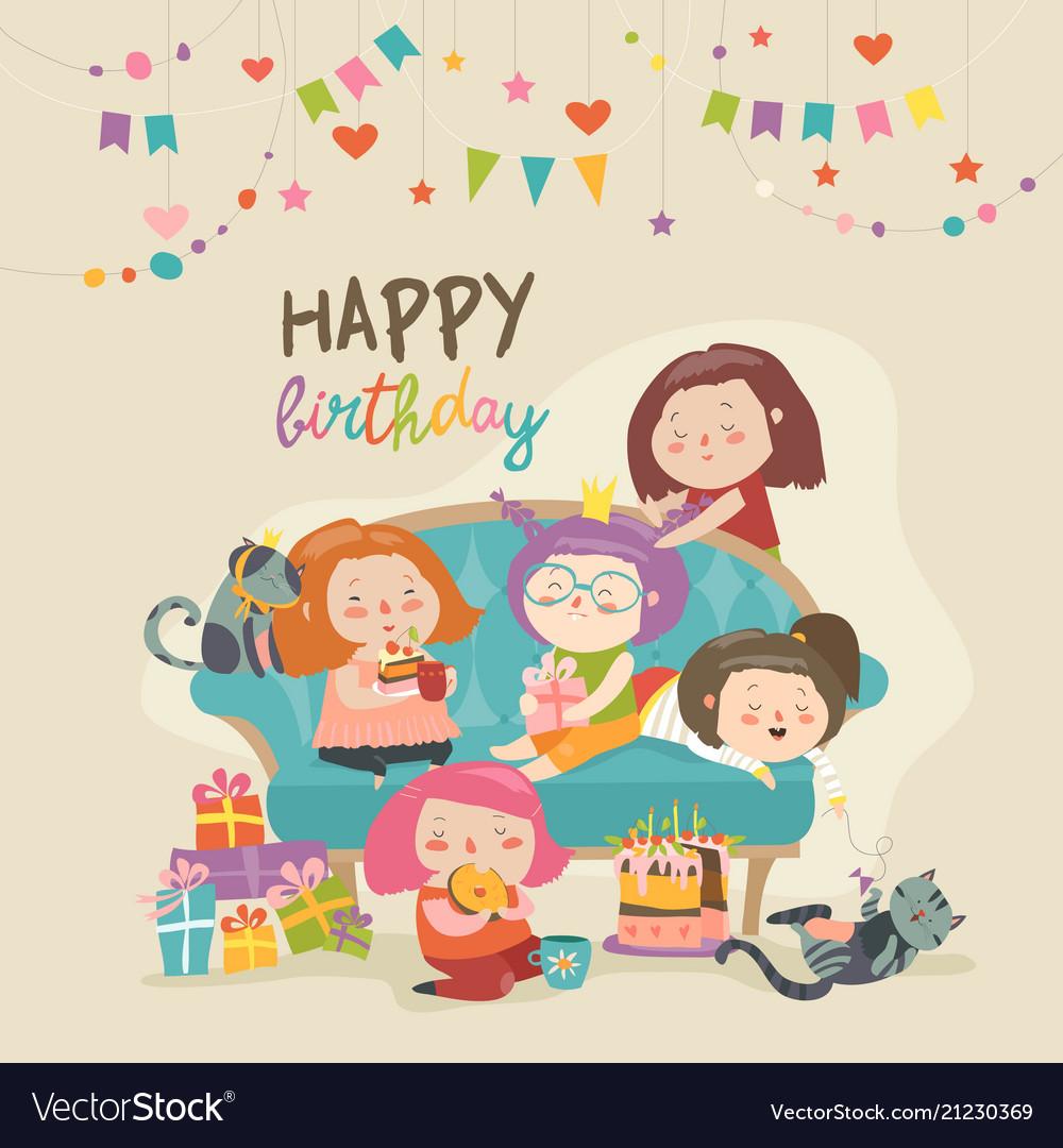 Group of cute girls celebrating birthday