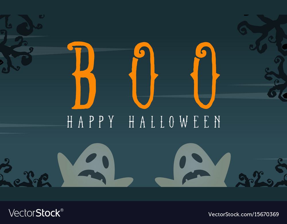 Halloween with ghost greeting card