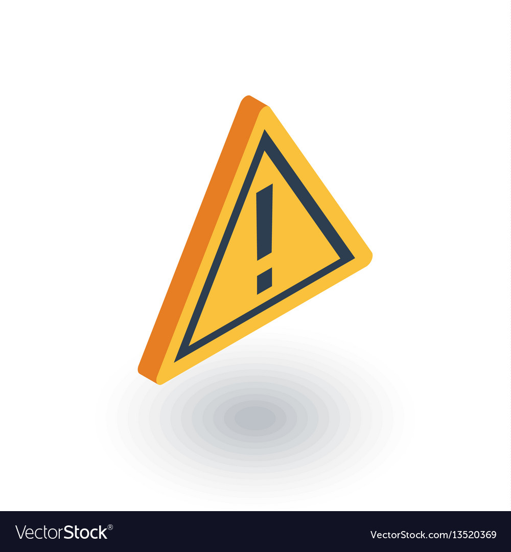 Hazard warning attention isometric flat icon 3d
