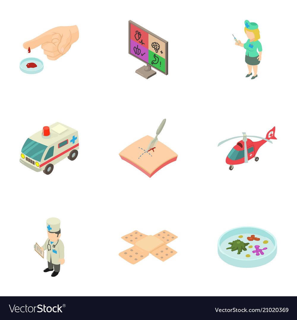 Help of doctor icons set isometric style