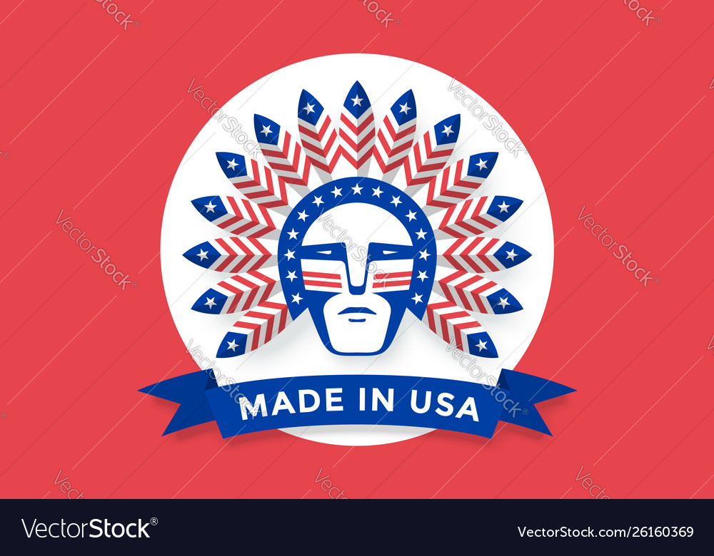 Icon american man with indian chief feathers on