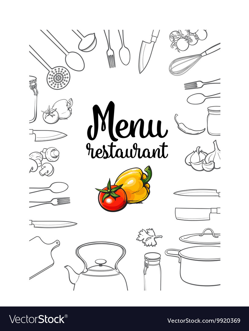 Kitchenware vegetables and cutlery menu design