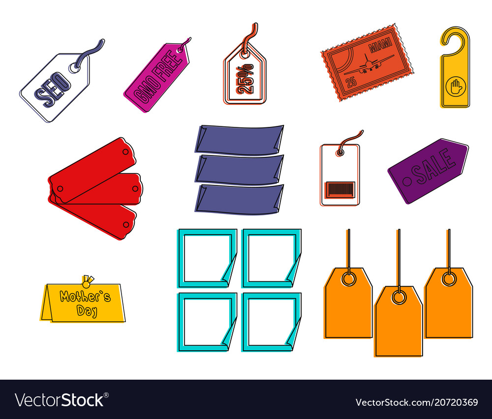Label icon set color outline style vector image