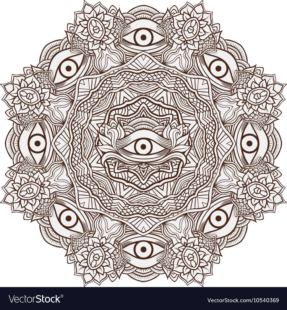 Mandala henna mehendi with the eye of providence