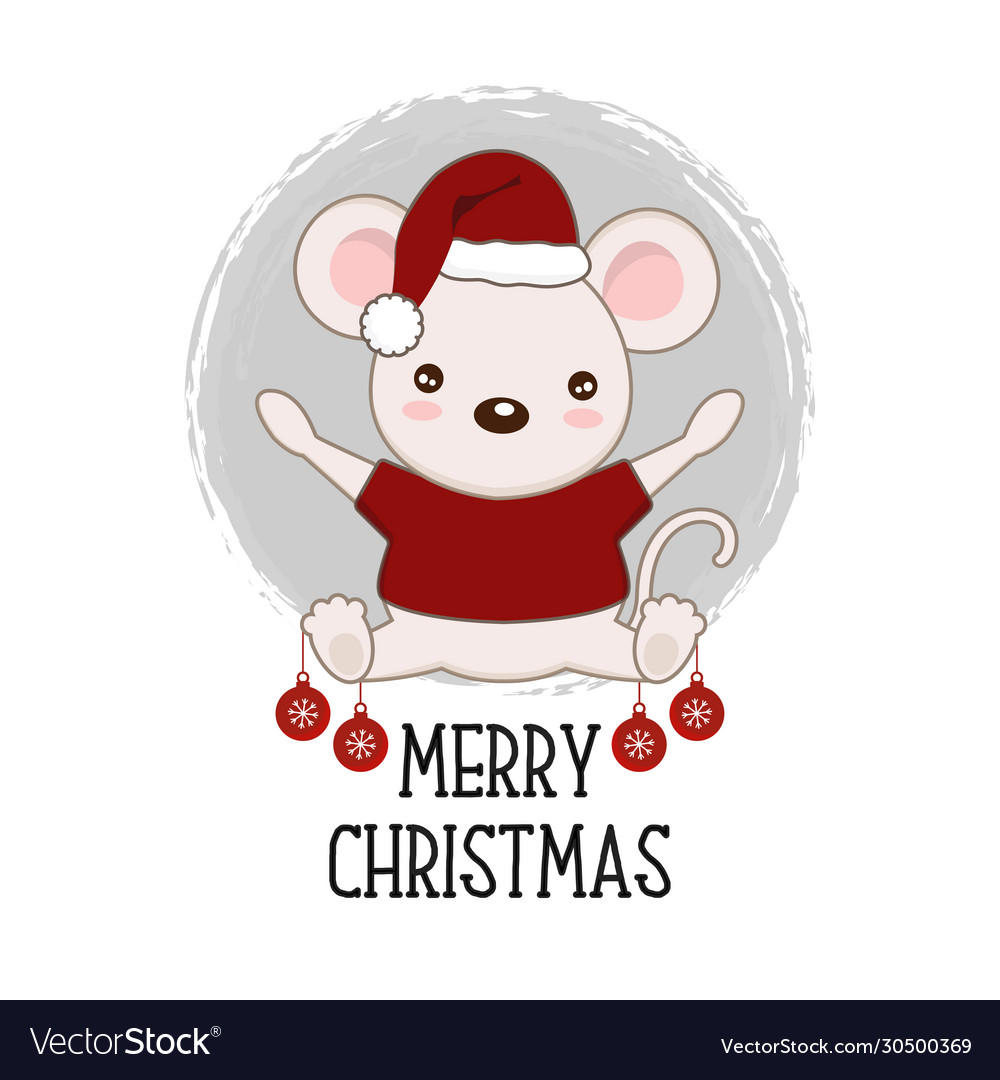red hat a christmas mouse