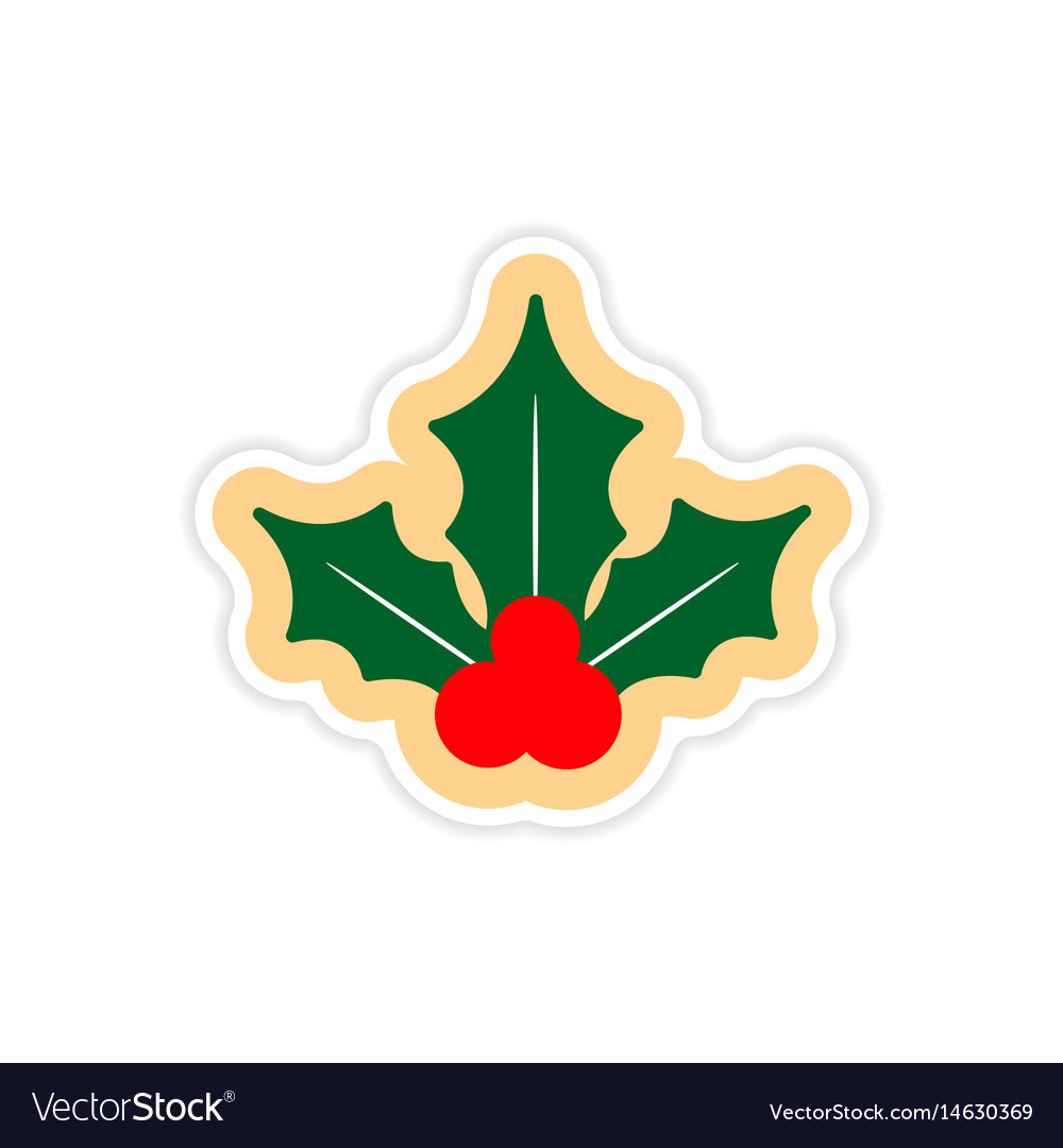 Paper sticker on white background sprig mistletoe