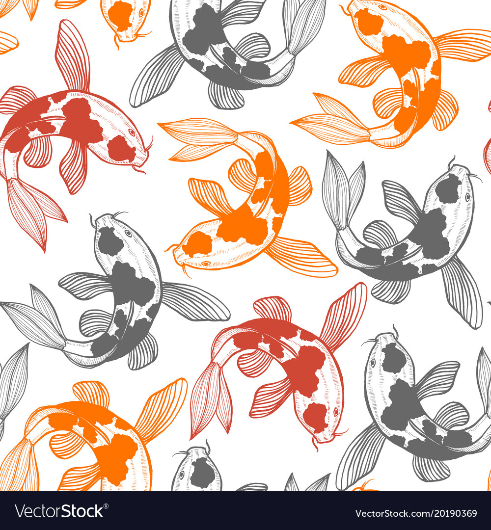 Seamless pattern with karp koi in hand drawn style
