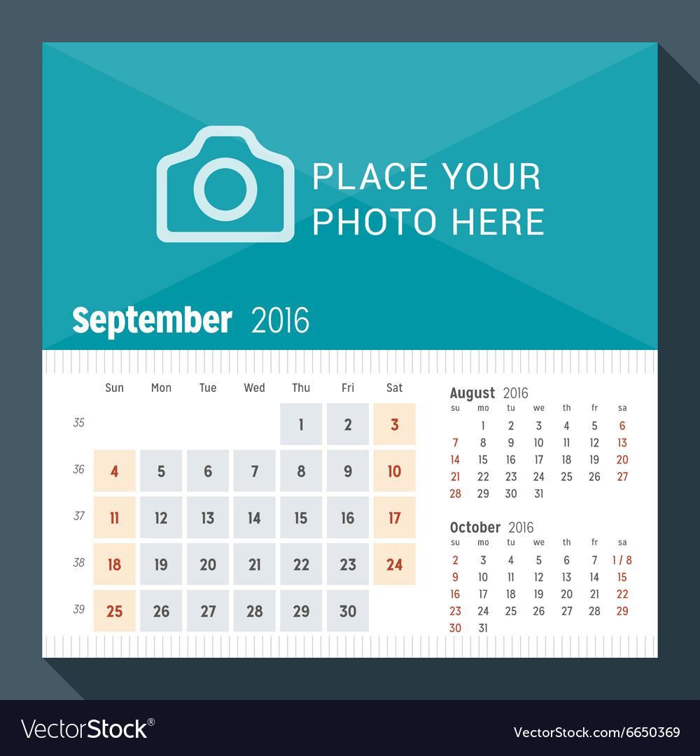 september 2016 desk calendar for 2016 year week vector image