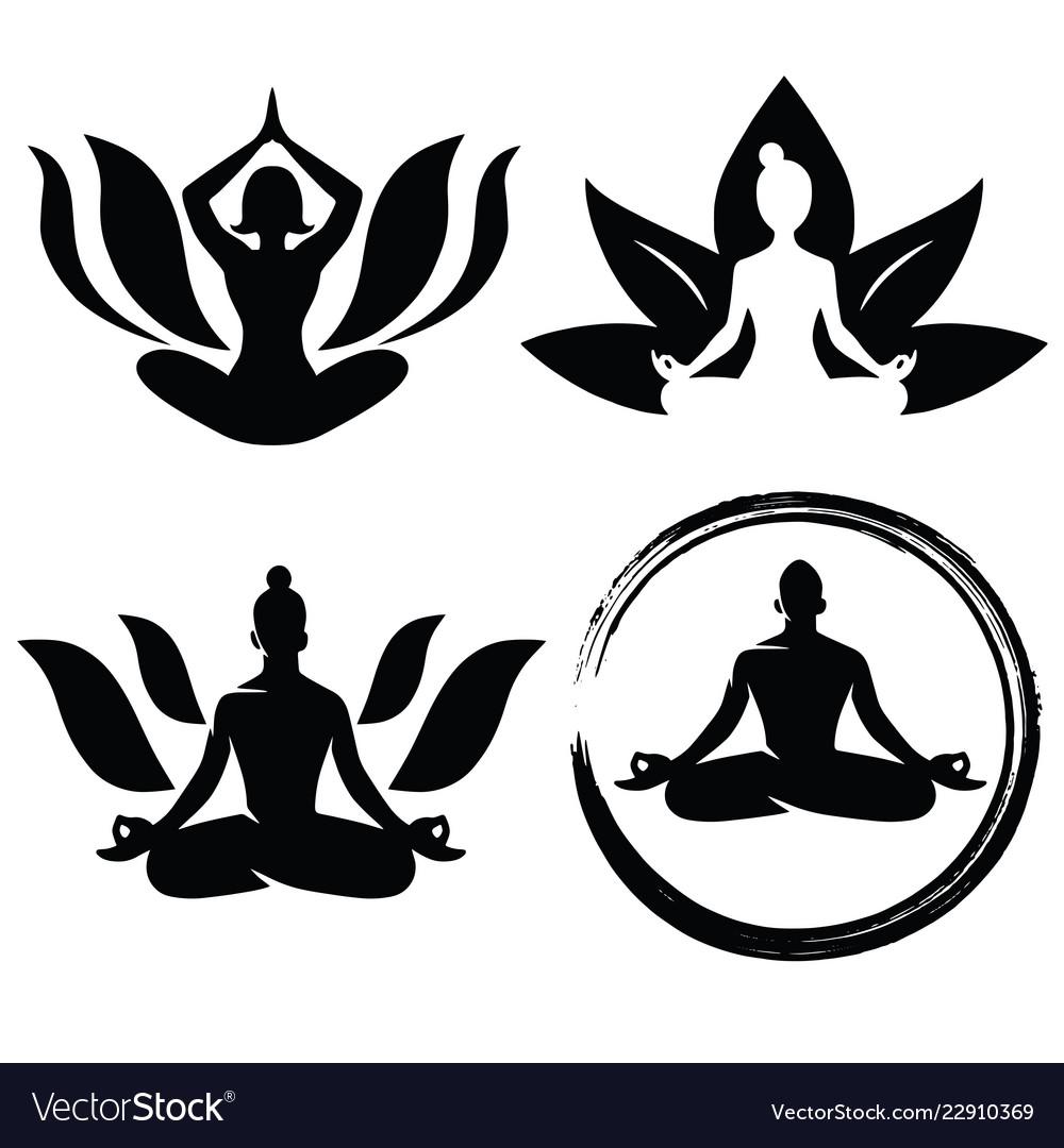 Set of meditation yoga logo design