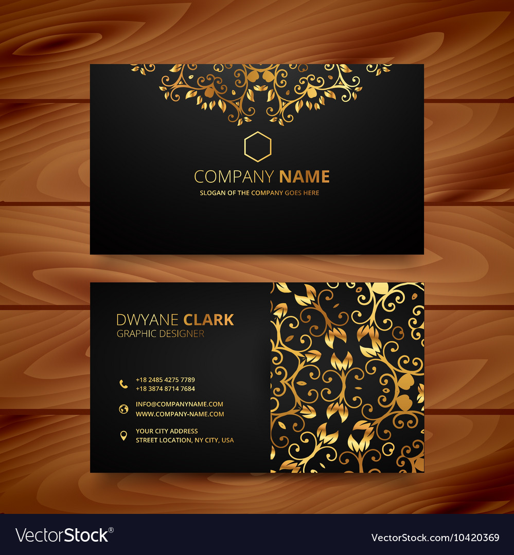 Stylish golden premium luxury business card vector image colourmoves