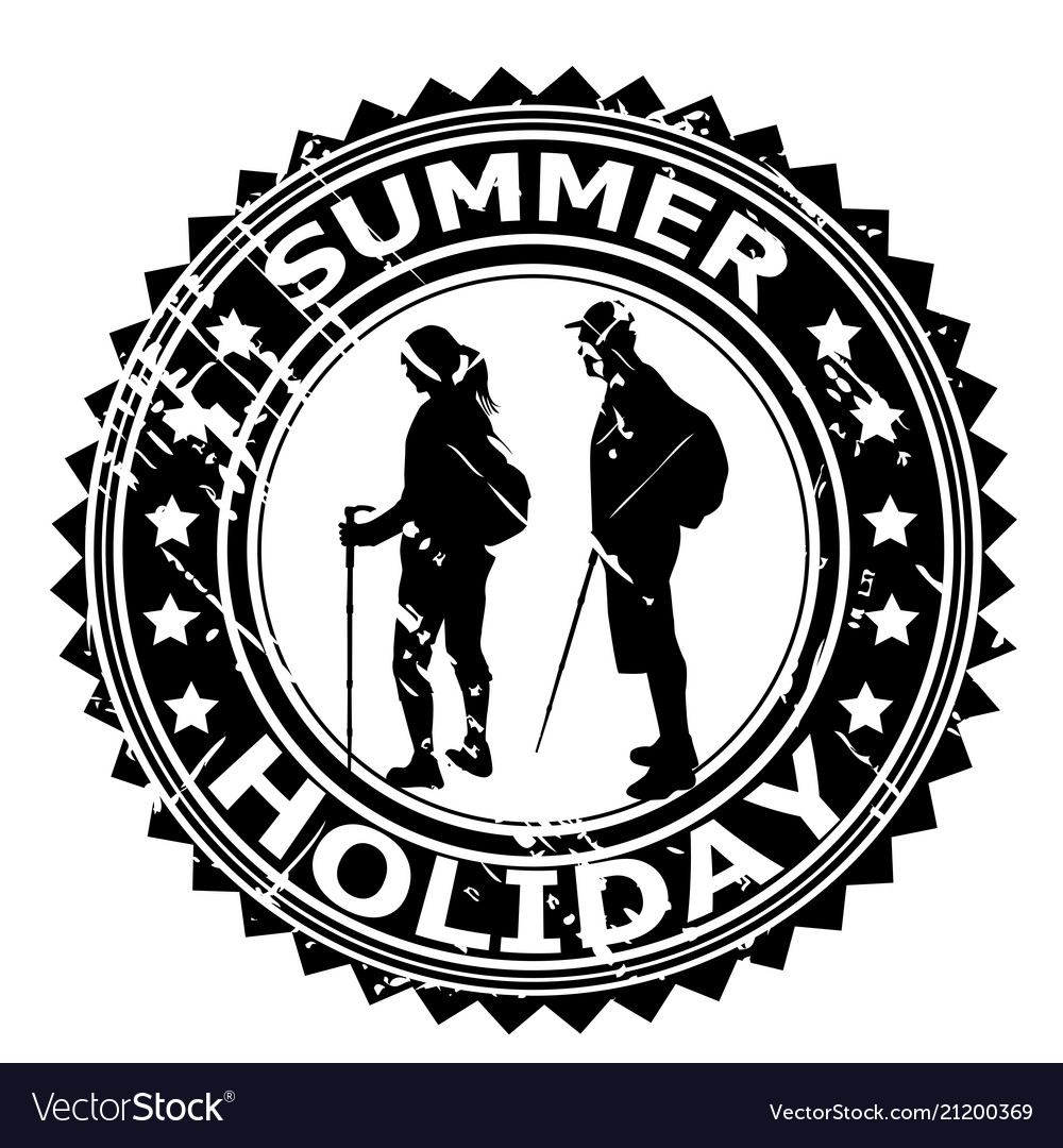 Summer holiday rubber stamp with tourists