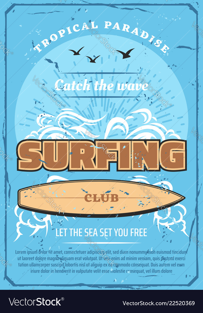Surfing sport club retro poster sea and surfboard