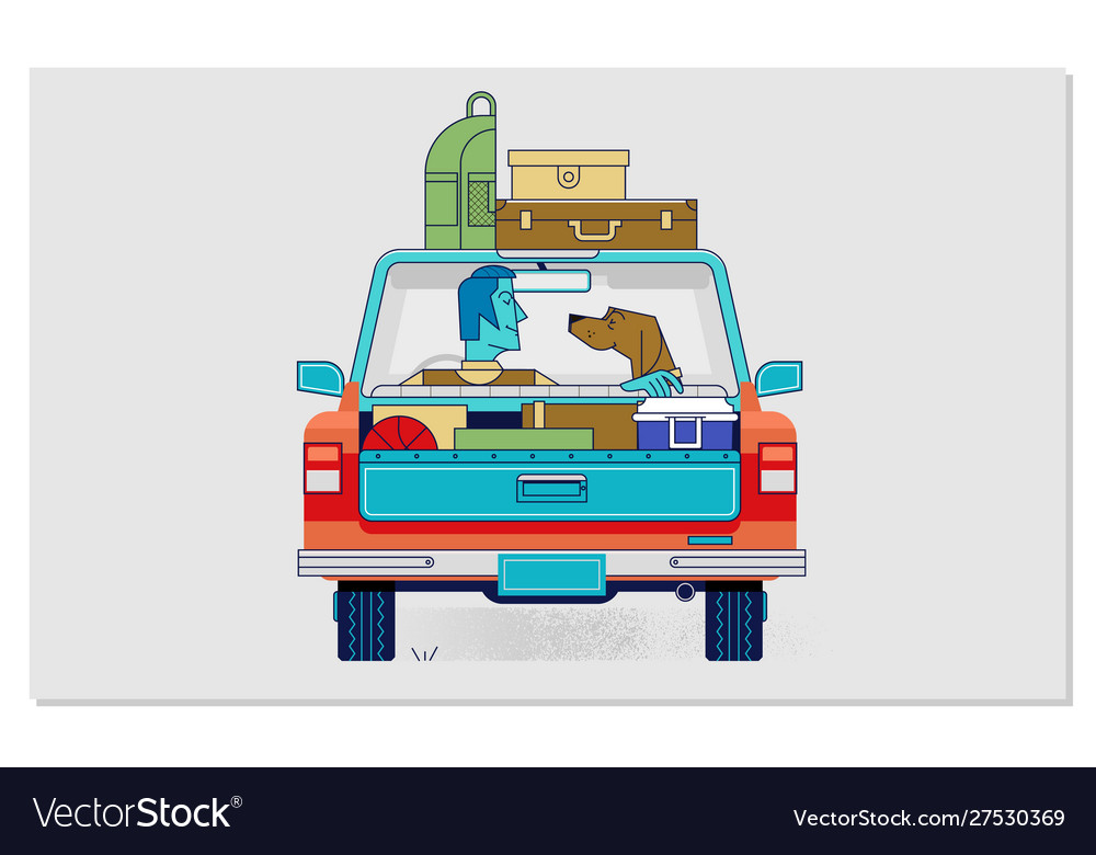 Travelling with pets car concept flat