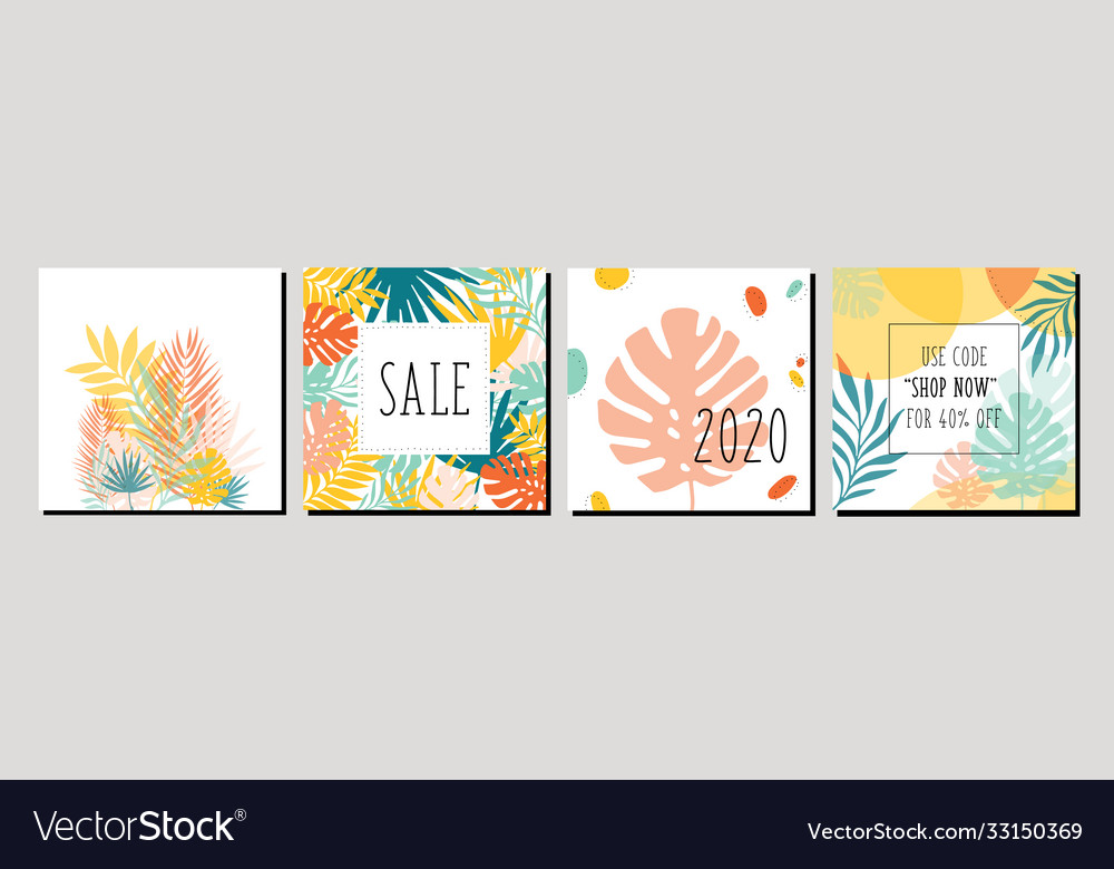Trendy abstract square art templates with floral