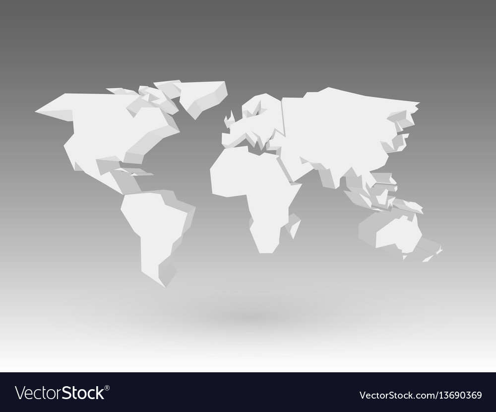 White 3d world map with dropped shadow on grey