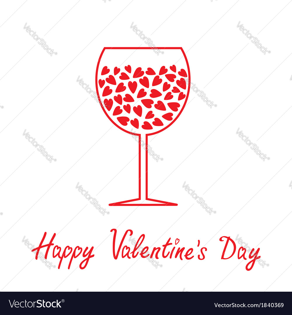 Wine Glass With Hearts Happy Valentines Day Card Vector Image