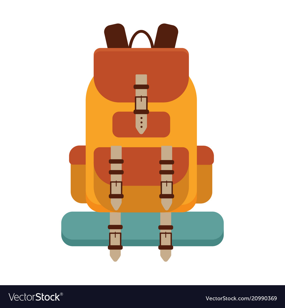 Yellow hiking backpack icon