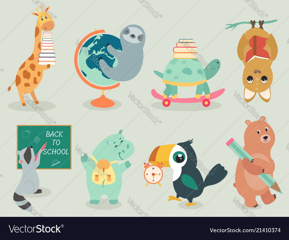 Back to school animal character hand drawn style
