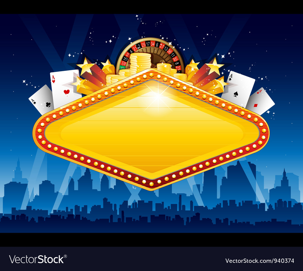 Casino city background vector image