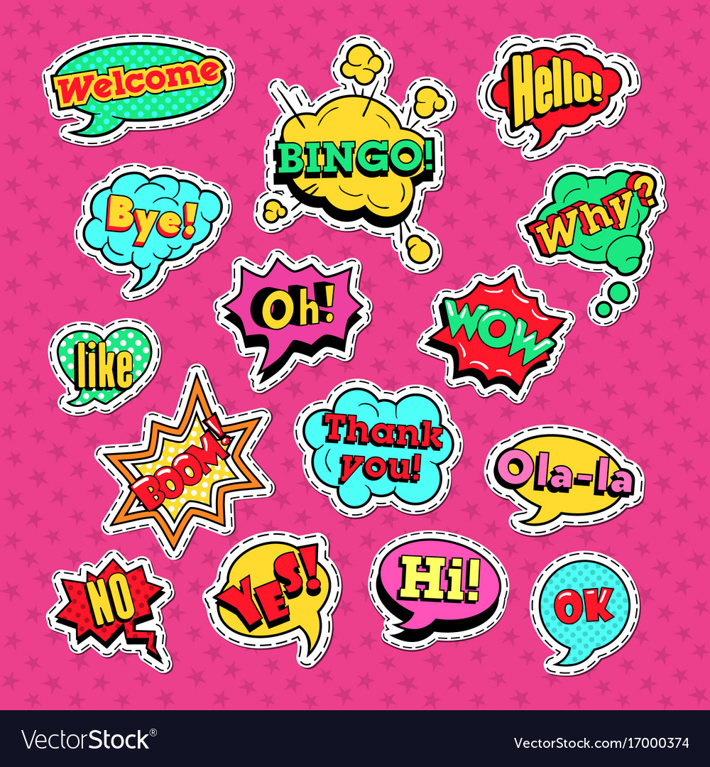 Comic speech bubbles set for badges and patches