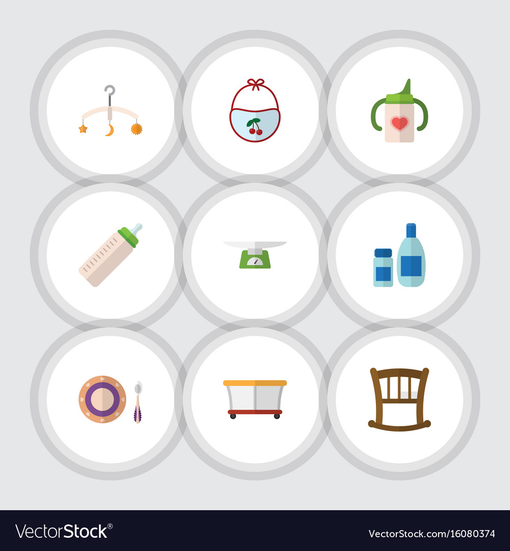 Flat icon child set of cream with lotion feeder vector image