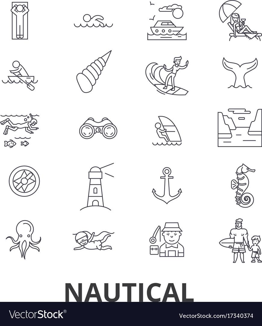 Nautical marine sailing anchor sea navy vector image
