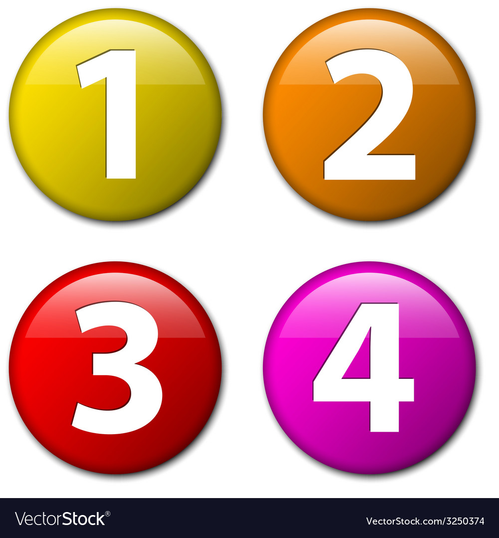One two three four - badges with numbers