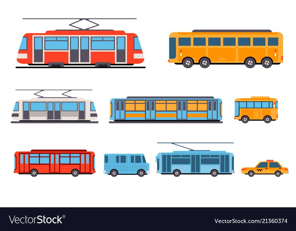 Public city transport set taxi bus subway tram