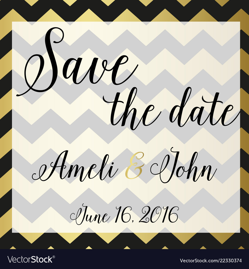 Save date invitation chevron zic zac design