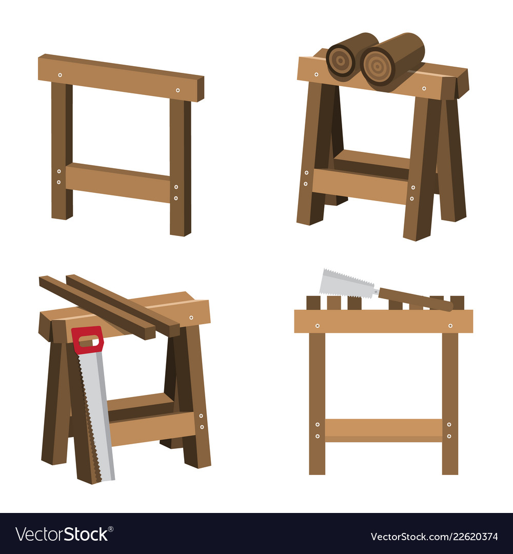 Sawhorses for carpenters and joiners with wood