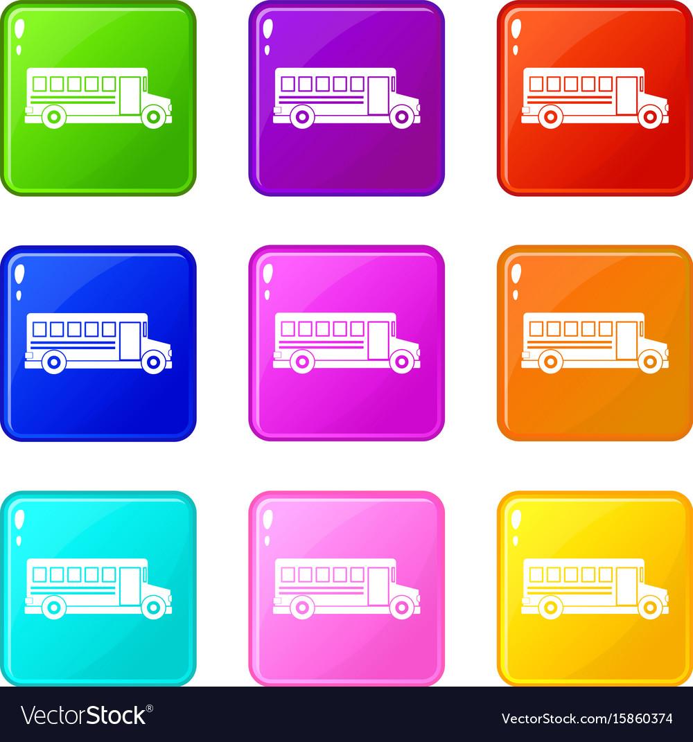 School bus icons 9 set