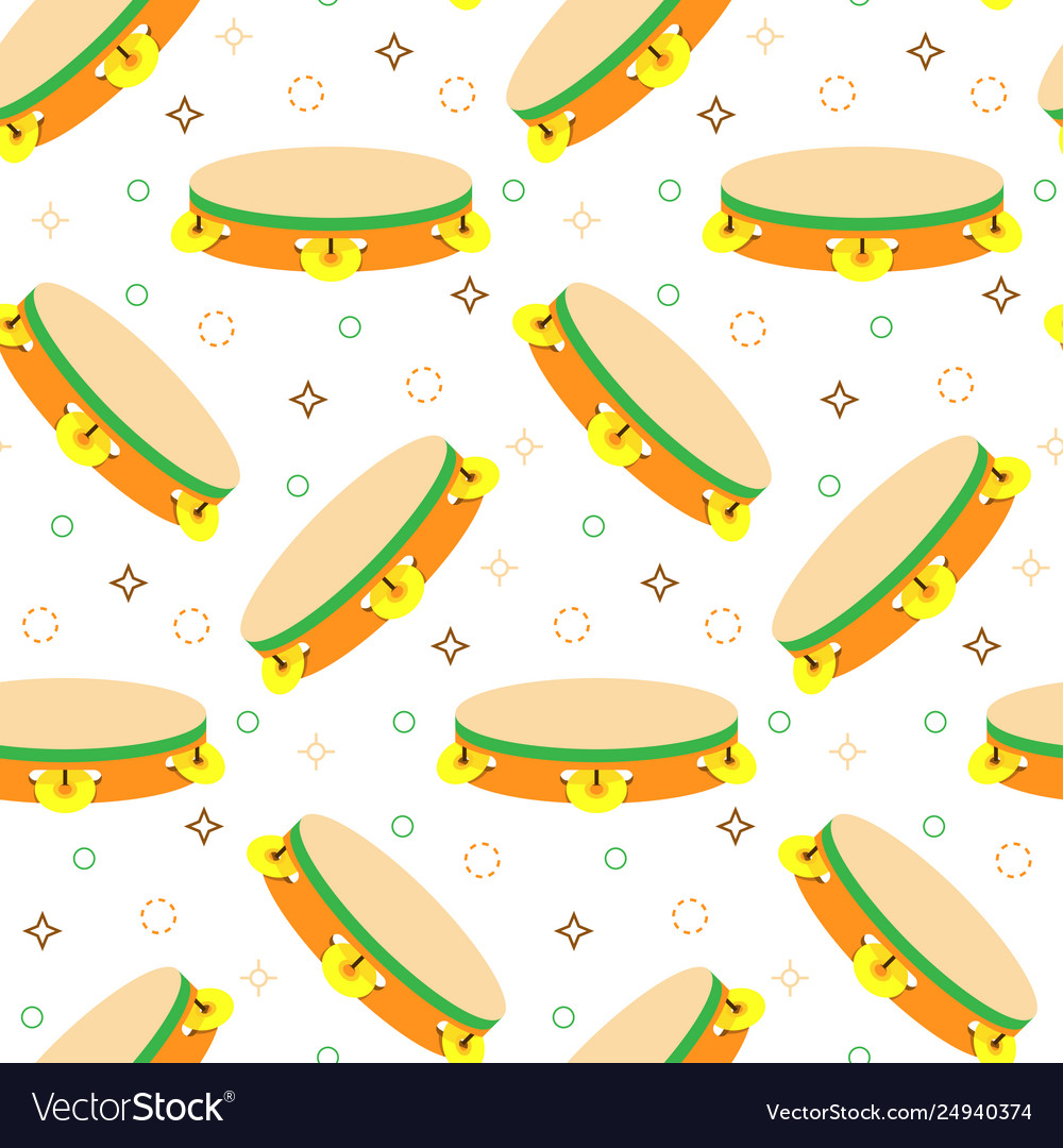 Seamless pattern with tambourines