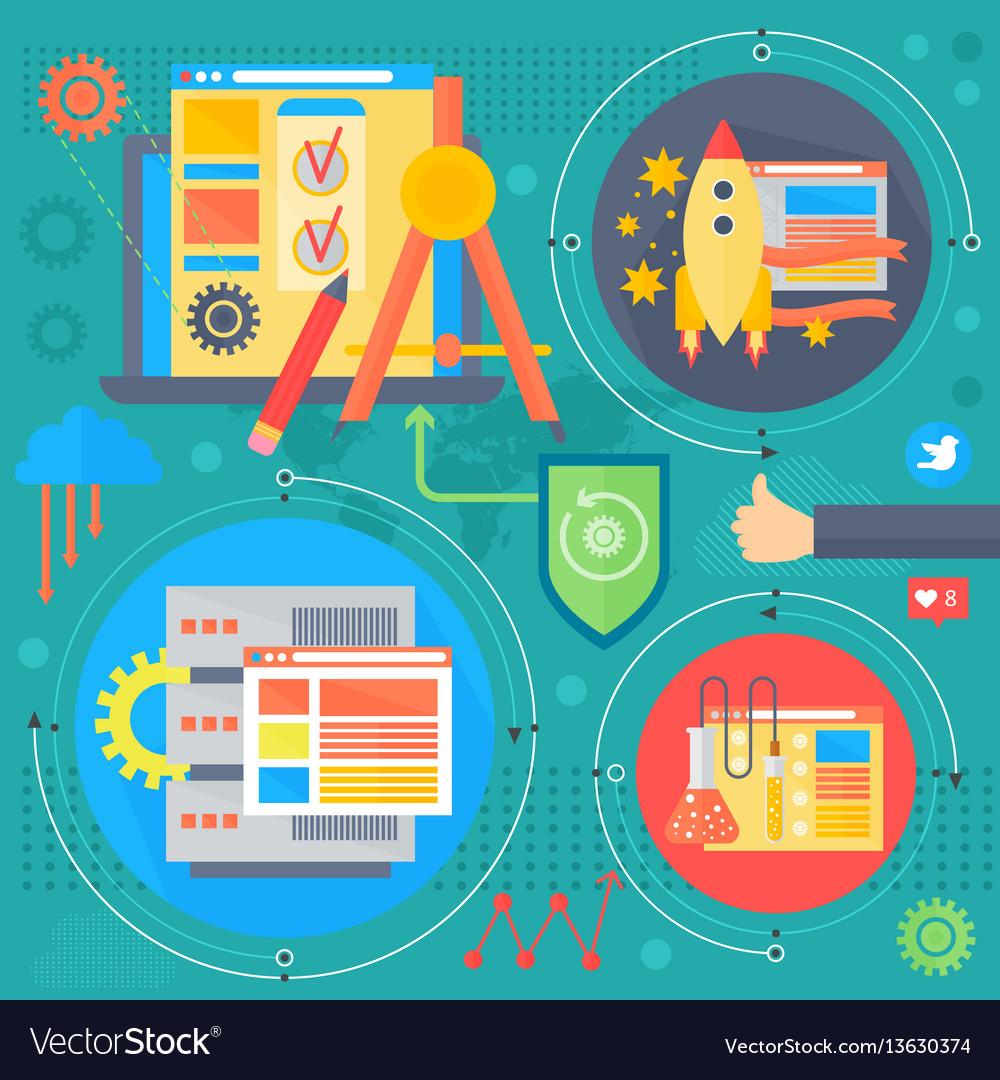 Seo and development concept design infographics
