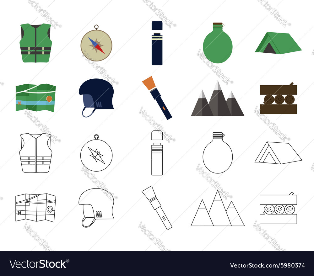 Set of flat adventure traveling icons Camping