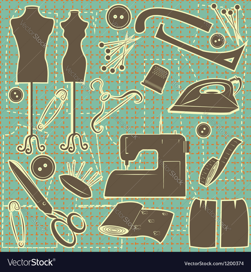 Sewing symbol seamless pattern tailoring vector image