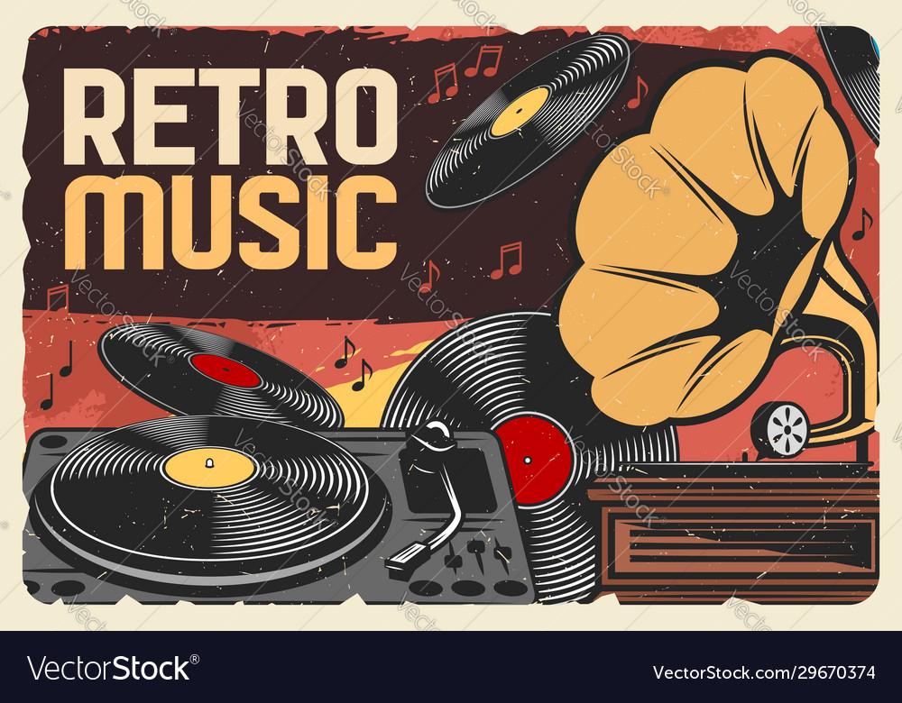Vinyl records retro music and gramophone