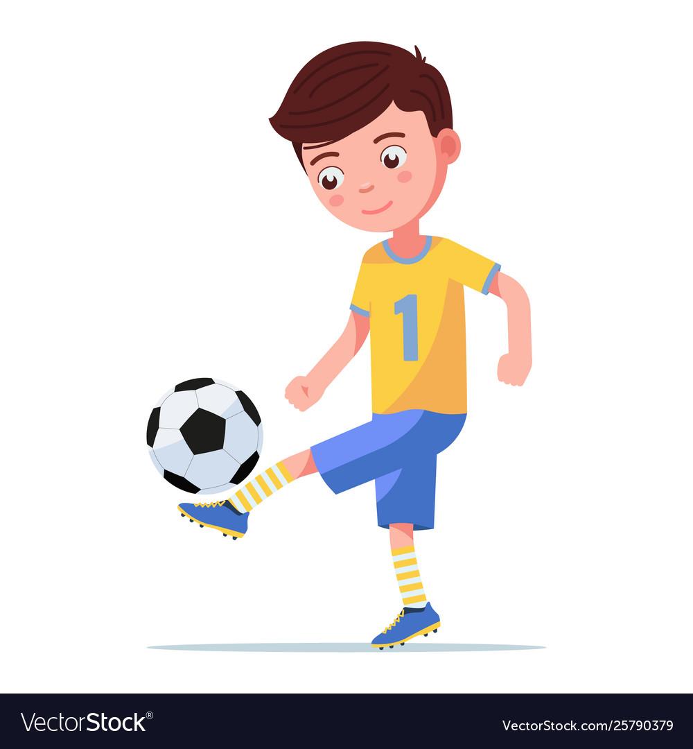 Boy soccer player kicking ball on his leg