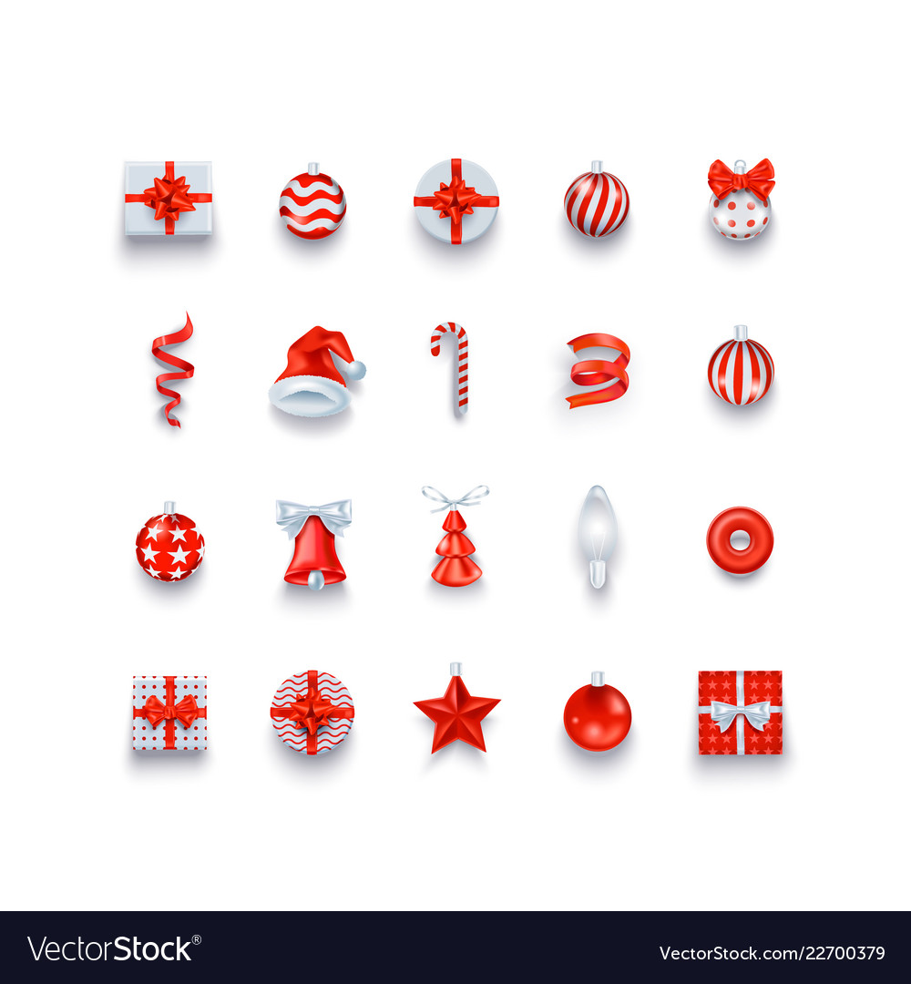 Christmas icons and objects set holidays