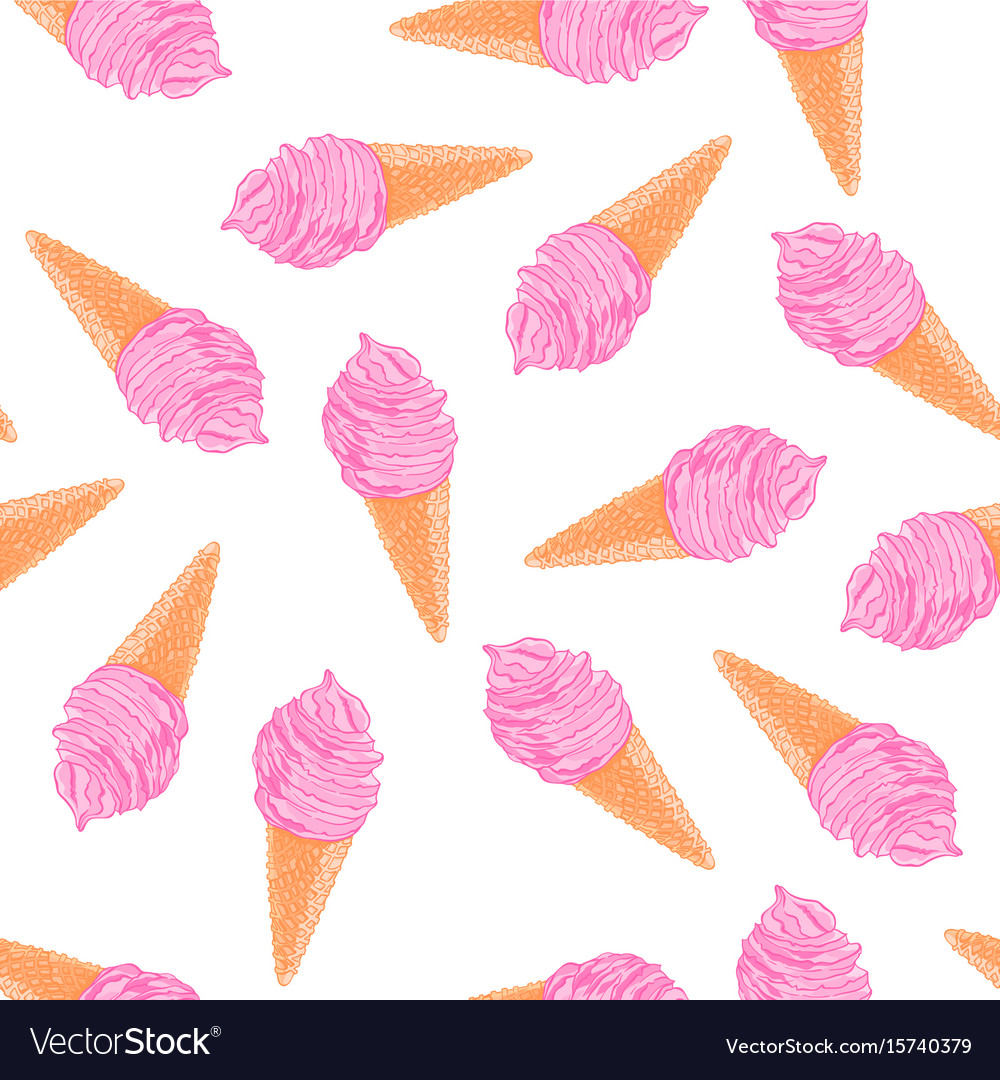 Cool summer seamless pattern with sketch berry ice vector image
