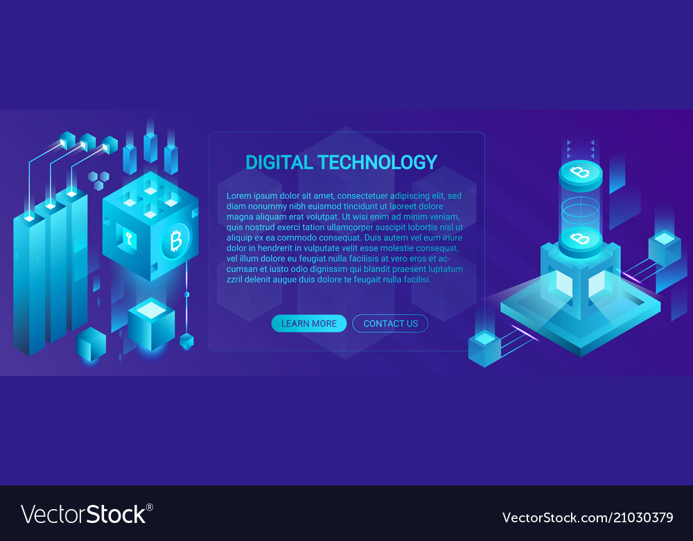 Cryptocurrency ico and blockchain banner concept
