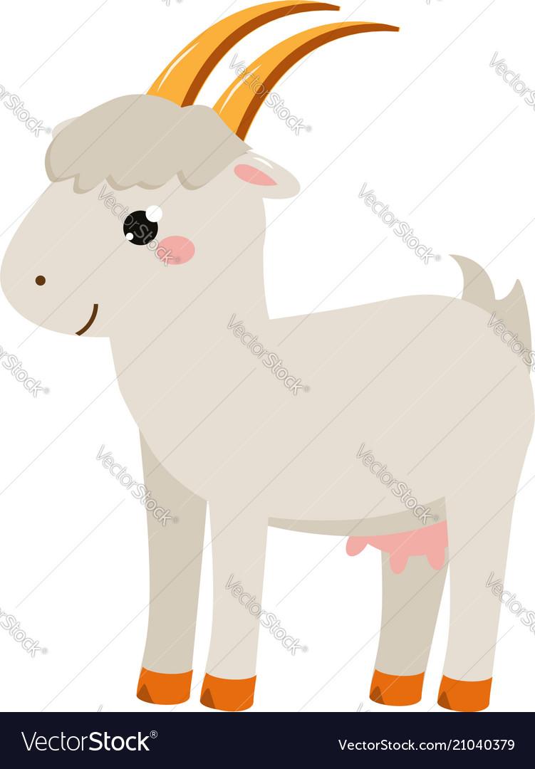 Cute goat cartoon farm animal isolated on white vector image