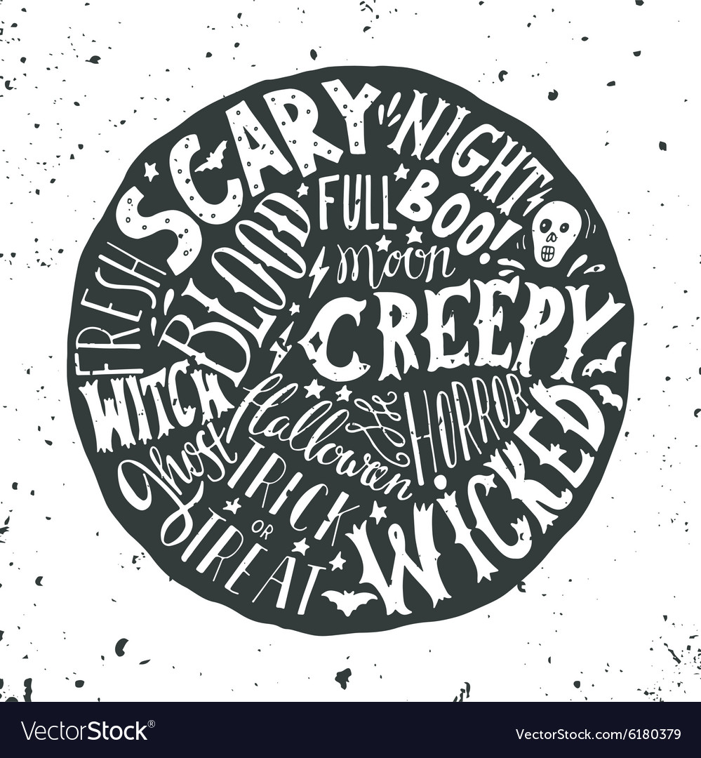 Halloween hand lettering on the round background
