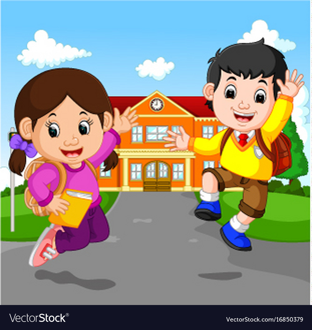 Happy little kids going to school Royalty Free Vector Image