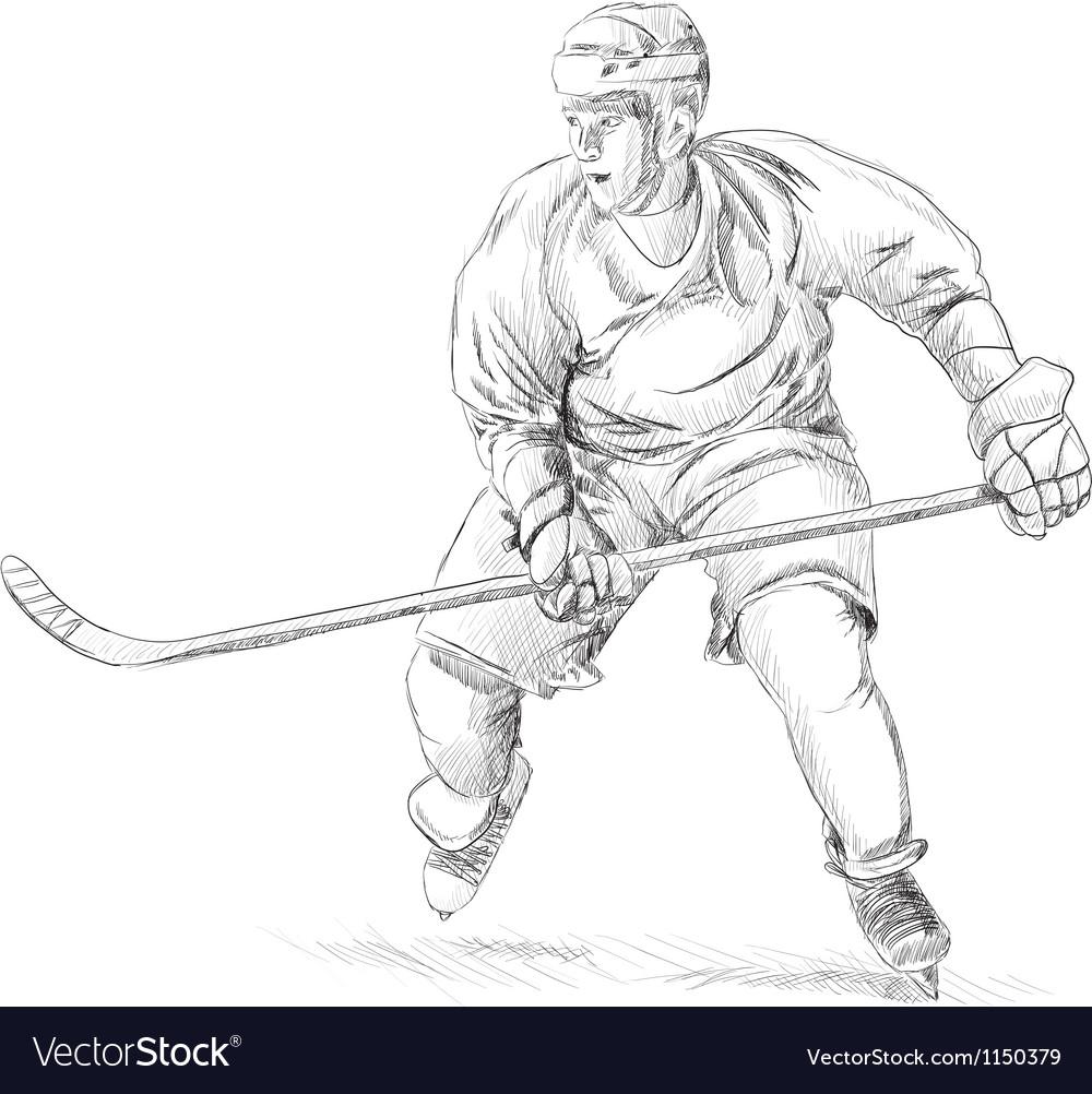Hockey player vector image