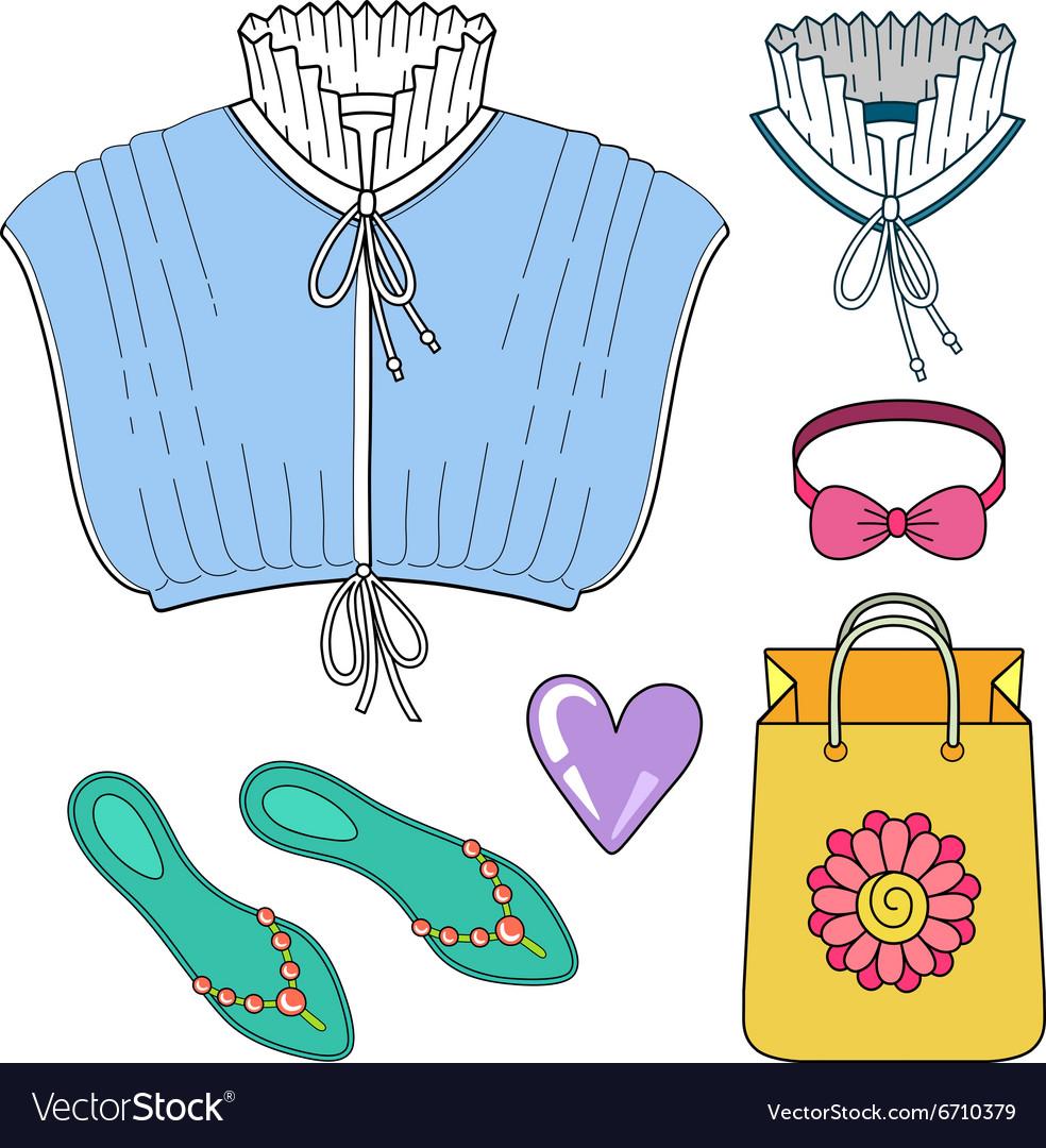 Pleated collar batiste chemisette vector image