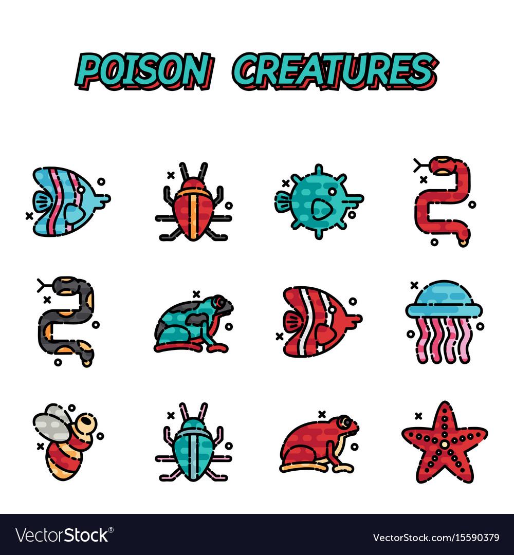 Poisonous creatures cartoon concept icons
