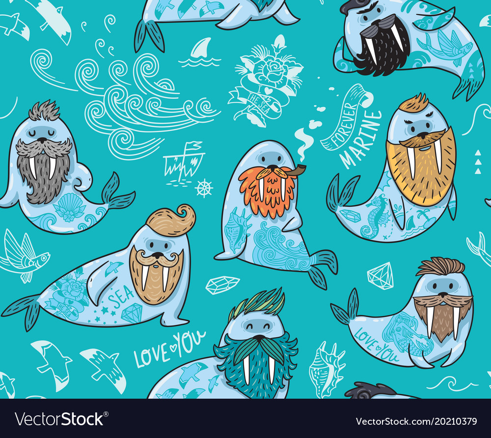 Seamless pattern with hipster walruses with beards